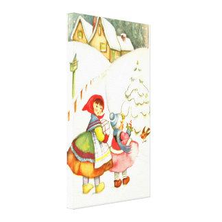 雪の2人の女の子 キャンバスプリント