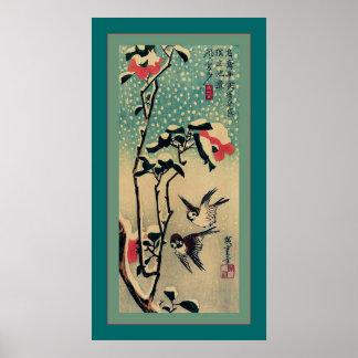 雪の~のヴィンテージの日本語のすずめそしてツバキ ポスター