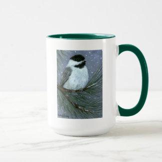 雪の《鳥》アメリカゴガラの冬のマツ元の芸術のコーヒー・マグ マグカップ