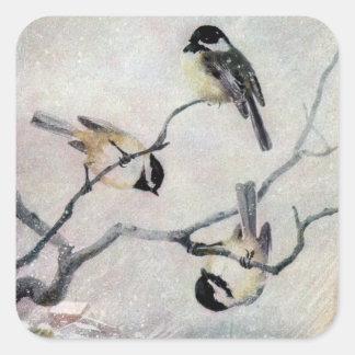 雪の《鳥》アメリカゴガラ スクエアシール
