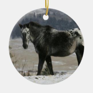 雪のAppaloosaの馬 セラミックオーナメント