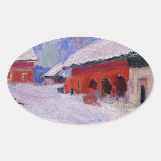 雪のBjornegaard、ノルウェーの赤い家 楕円形シール
