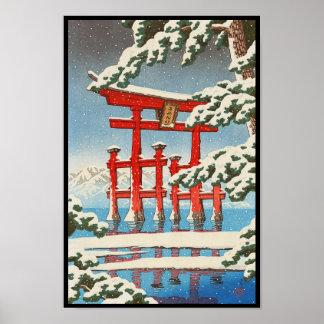 雪のHasui Kawaseの向こうずねのhangaの芸術の宮島 ポスター