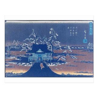雪のInokashiraのBenzaitenの神社 ポストカード