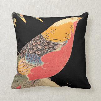 雪のItô Jakuchûの鳥の芸術の金キジ クッション