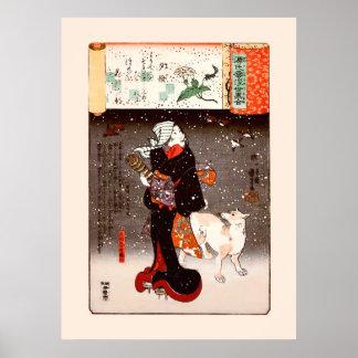 雪のKuniyoshiのファインアートの國芳女性及び犬 ポスター