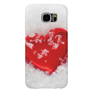 雪のSamsungの銀河系S6の場合の赤い愛ハート Samsung Galaxy S6 ケース