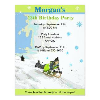 雪のSledding誕生会の招待 カード