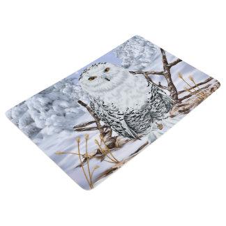 雪のSnowyのフクロウ フロアマット