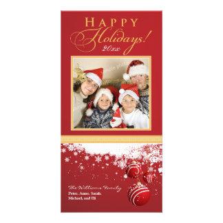 雪は家族の休日のフォトカードを飾ります(赤い) カスタマイズ写真カード