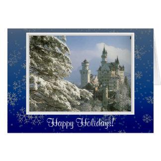 雪は幸せな休日の写真カードはげます カード