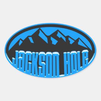 雪をかぶったジャクソンホール 楕円形シール