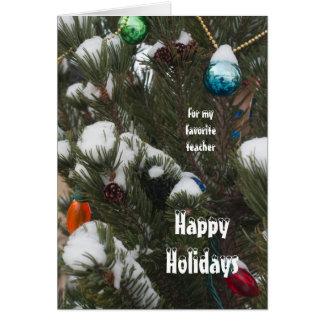 雪を持つ私の先生のマツのための幸せな休日 カード