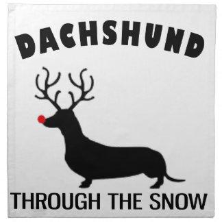 雪を通したダックスフント ナプキンクロス
