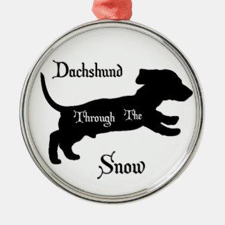 雪を通したダックスフント メタルオーナメント