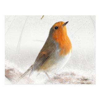雪シャワーロビンRedbreast ポストカード