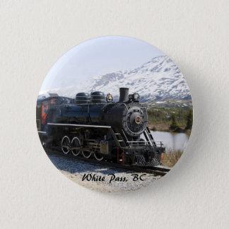 雪ボタンの白いパスの列車 5.7CM 丸型バッジ