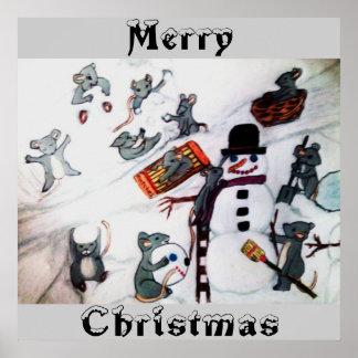 雪ポスターのネズミからのメリークリスマス ポスター
