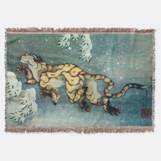 雪中虎図、雪の北斎のトラ、Hokusaiの芸術 スローブランケット