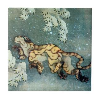 雪中虎図、雪の北斎のトラ、Hokusaiの芸術 タイル