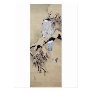 雪中鷹図、雪の柴田是真のタカ、Shibata Zeshin ポストカード