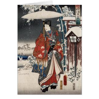 雪場面のGenjiの物語のモダンな版 カード
