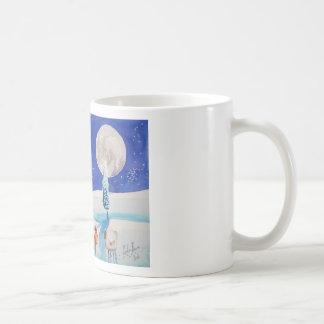 雪場面ヒツジの月 コーヒーマグカップ