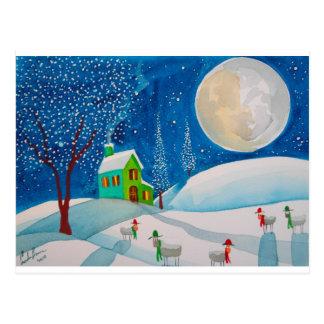 雪場面民俗ヒツジの月 ポストカード