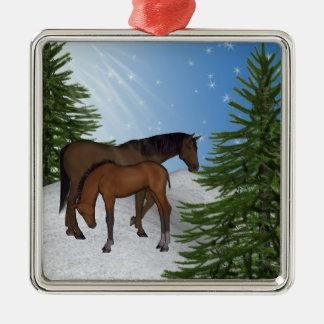 雪場面馬のクリスマスツリーのオーナメント メタルオーナメント