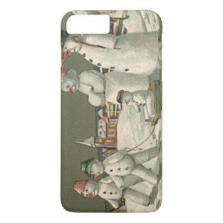 雪教会を遊ぶ雪だるま家族の冬 iPhone 8 PLUS/7 PLUSケース