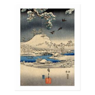 雪景色に雀、雪の広重のすずめは、Hiroshige美化します ポストカード