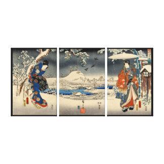 雪景色の恋人、雪場面、Toyokuniの豊国の恋人 キャンバスプリント