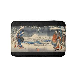雪景色の恋人、雪場面、Toyokuniの豊国の恋人 バスマット