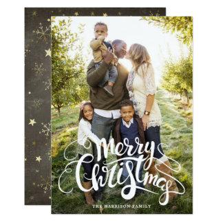 雪片および星の完全な写真のクリスマスカード 12.7 X 17.8 インビテーションカード
