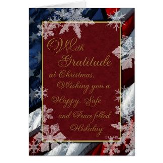 雪片および星赤い白くおよび青の愛国心が強い カード