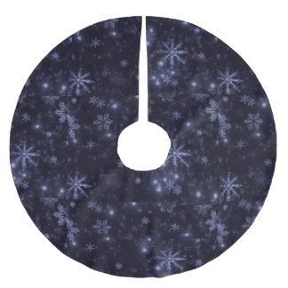 雪片および真夜中の青い背景の木のスカート ブラッシュドポリエステルツリースカート