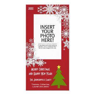 雪片が付いているクリスマスツリー カード