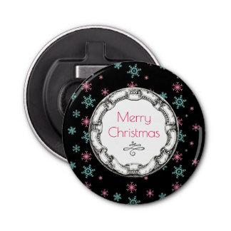 雪片が付いているメリークリスマスのヴィンテージの円 栓抜き