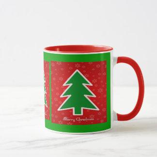 雪片が付いているメリークリスマスの木 マグカップ