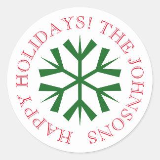 雪片が付いている円形のクリスマスのステッカー ラウンドシール