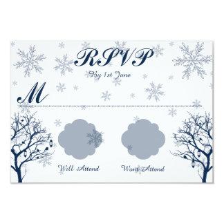 雪片とのRSVPを結婚する降雪 カード