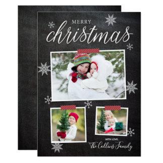 雪片のおもしろいのクリスマスの写真カード カード