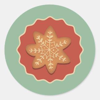 雪片のクッキーのステッカー ラウンドシール
