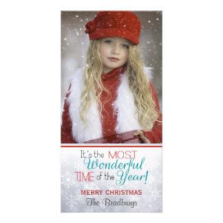 雪片のクリスマスのカスタムの写真 カード