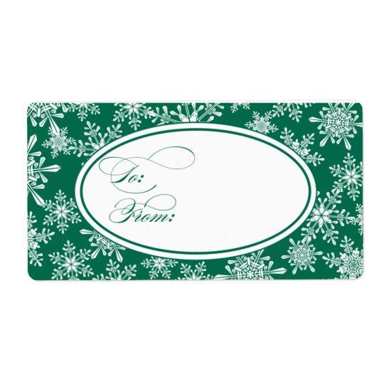 雪片のクリスマスのプレゼントのラベル 発送ラベル