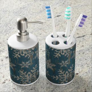 雪片のクリスマスの休日の素朴な石鹸の歯ブラシ バスセット