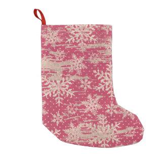 雪片のクリスマスの素朴なクリスマスのストッキング スモールクリスマスストッキング