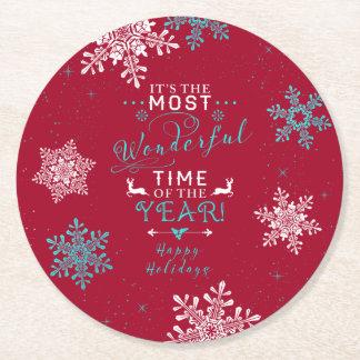 雪片のクリスマスの赤いターコイズのすばらしい時間 ラウンドペーパーコースター