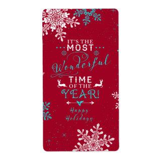 雪片のクリスマスの赤いターコイズのすばらしい時間 発送ラベル
