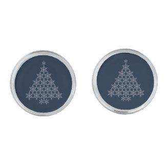 雪片のクリスマスツリーのカフスボタン 銀色 カフリンク